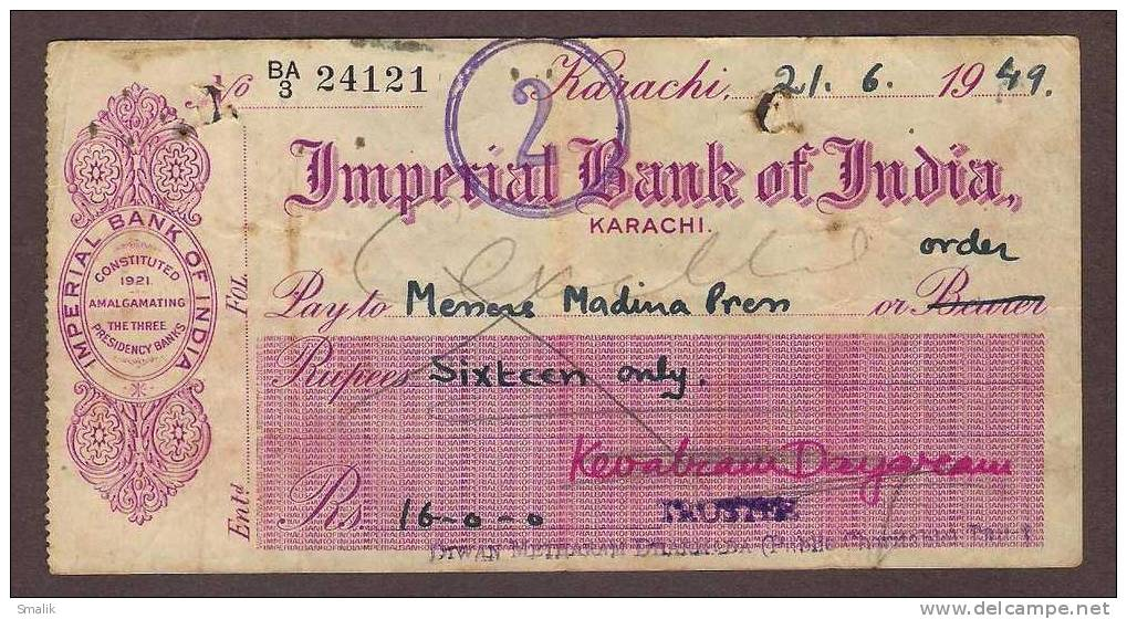 Imperial Bank of India Cheque