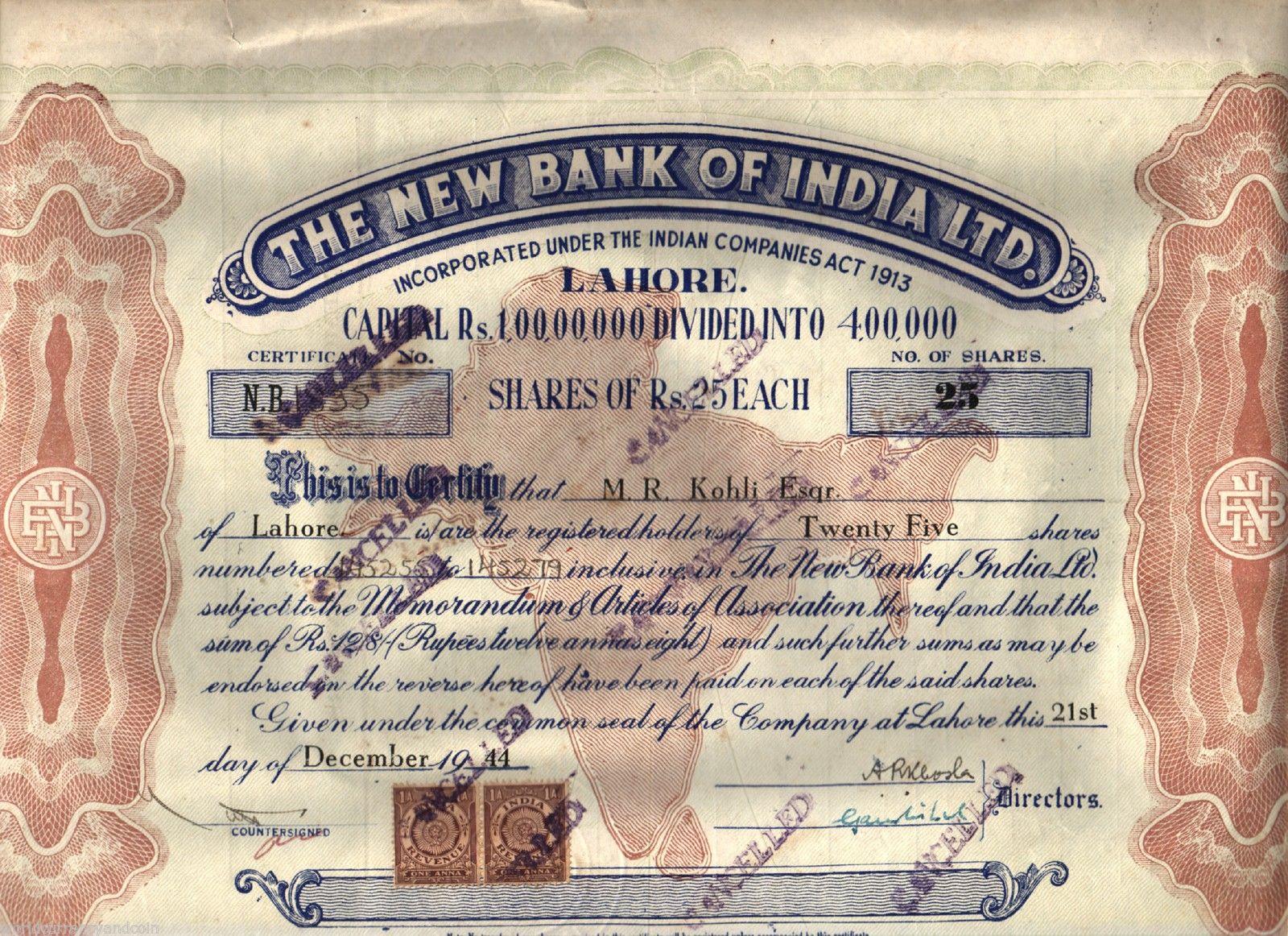 New Bank of India - MR Kohli Share Certificate