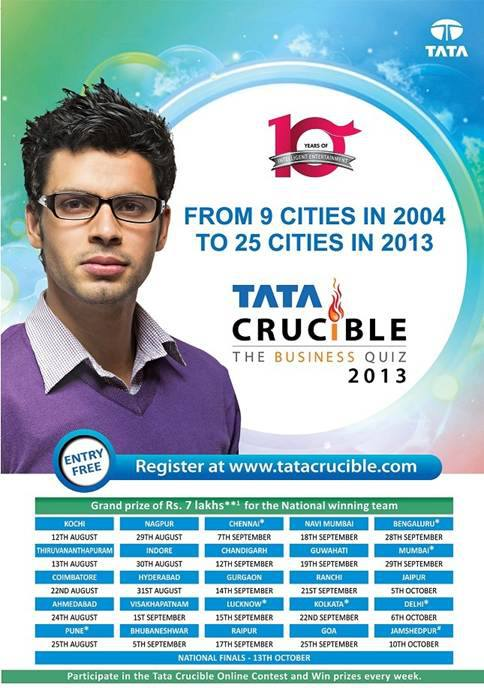 Tata Crucible Corporate Quiz 2013 Schedule