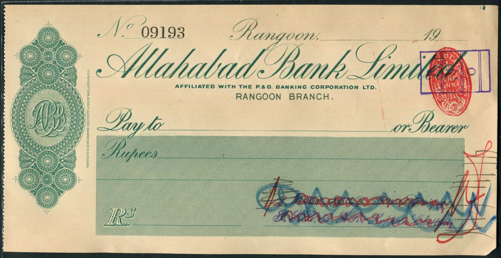 Allahabad Bank Cheque