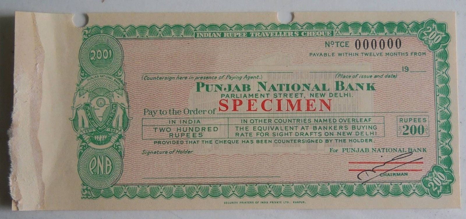 Punjab National Bank - Cheque