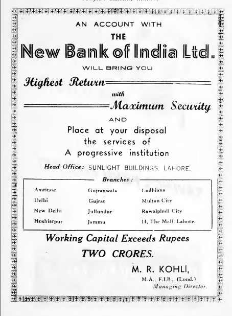 The New Bank of India 1943 ad